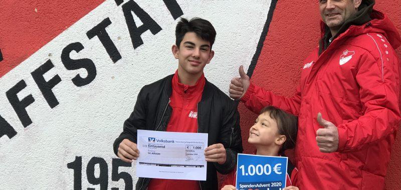 Volksbank Herrenberg fördert Jugendarbeit beim SVA mit 1.000€